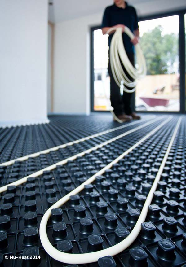 Nuheat underfloor heating being installed